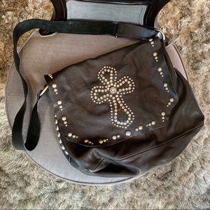 Handbags - Black Leather Embellished across Biker Bag